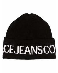 schwarze und weiße bedruckte Mütze von VERSACE JEANS COUTURE