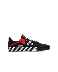 schwarze und weiße bedruckte Segeltuch niedrige Sneakers von Off-White