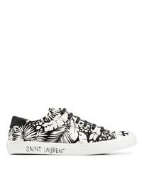 schwarze und weiße bedruckte Segeltuch niedrige Sneakers von Saint Laurent
