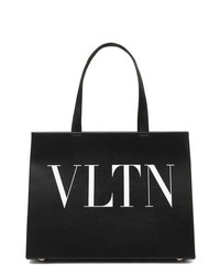 schwarze und weiße bedruckte Shopper Tasche aus Leder