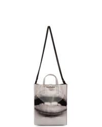 schwarze und weiße bedruckte Shopper Tasche aus Leder von Acne Studios
