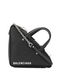 schwarze und weiße bedruckte Shopper Tasche aus Leder von Balenciaga
