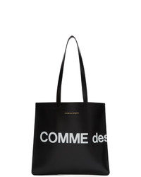 schwarze und weiße bedruckte Shopper Tasche aus Leder von Comme des Garcons Wallets