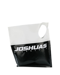 schwarze und weiße bedruckte Shopper Tasche aus Leder von Joshua Sanders
