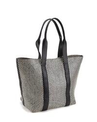 schwarze und weiße bedruckte Shopper Tasche aus Leder von Lascana
