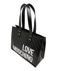 schwarze und weiße bedruckte Shopper Tasche aus Leder von Love Moschino