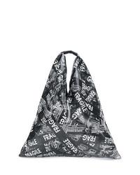 schwarze und weiße bedruckte Shopper Tasche aus Leder von MM6 MAISON MARGIELA