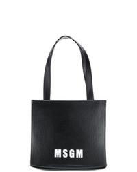 schwarze und weiße bedruckte Shopper Tasche aus Leder von MSGM