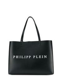 schwarze und weiße bedruckte Shopper Tasche aus Leder von Philipp Plein