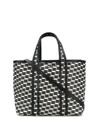schwarze und weiße bedruckte Shopper Tasche aus Leder von Pierre Hardy
