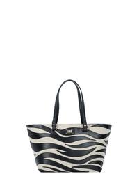 schwarze und weiße bedruckte Shopper Tasche aus Leder von Roberto Cavalli Class