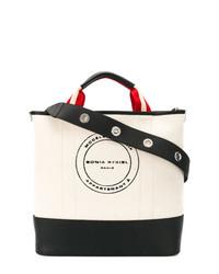 schwarze und weiße bedruckte Shopper Tasche aus Leder von Sonia Rykiel