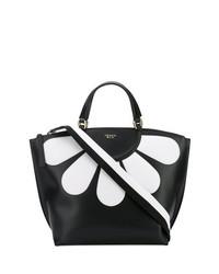 schwarze und weiße bedruckte Shopper Tasche aus Leder von Tosca Blu