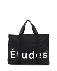 schwarze und weiße bedruckte Shopper Tasche aus Segeltuch
