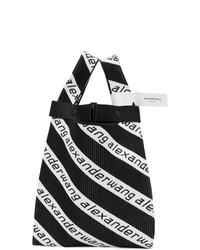 schwarze und weiße bedruckte Shopper Tasche aus Segeltuch von Alexander Wang