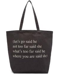 schwarze und weiße bedruckte Shopper Tasche aus Segeltuch von Ann Demeulemeester