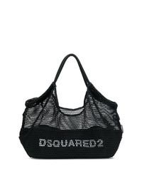 schwarze und weiße bedruckte Shopper Tasche aus Segeltuch von Dsquared2