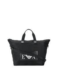 schwarze und weiße bedruckte Shopper Tasche aus Segeltuch von Emporio Armani