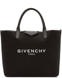 schwarze und weiße bedruckte Shopper Tasche aus Segeltuch von Givenchy