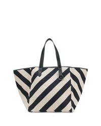 schwarze und weiße bedruckte Shopper Tasche aus Segeltuch von JW Anderson