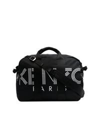 schwarze und weiße bedruckte Shopper Tasche aus Segeltuch von Kenzo