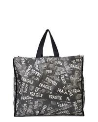 schwarze und weiße bedruckte Shopper Tasche aus Segeltuch von MM6 MAISON MARGIELA