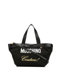schwarze und weiße bedruckte Shopper Tasche aus Segeltuch von Moschino