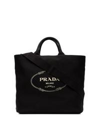 schwarze und weiße bedruckte Shopper Tasche aus Segeltuch von Prada