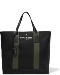 schwarze und weiße bedruckte Shopper Tasche aus Segeltuch von Saint Laurent