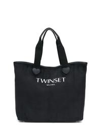 schwarze und weiße bedruckte Shopper Tasche aus Segeltuch von Twin-Set