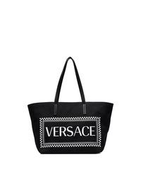 schwarze und weiße bedruckte Shopper Tasche aus Segeltuch von Versace