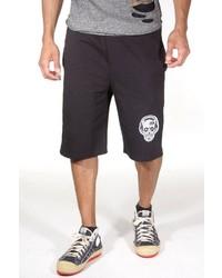 schwarze und weiße bedruckte Shorts von Fiyasko Fashion