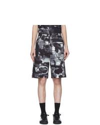 schwarze und weiße bedruckte Shorts von Moschino