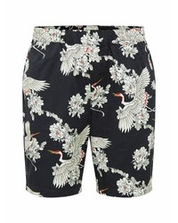 schwarze und weiße bedruckte Shorts von Selected Homme