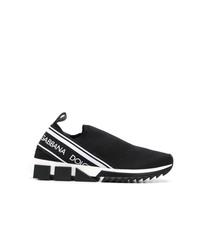 schwarze und weiße bedruckte Slip-On Sneakers von Dolce & Gabbana