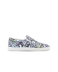 schwarze und weiße bedruckte Slip-On Sneakers von Mira Mikati