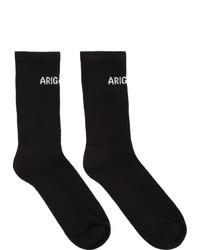 schwarze und weiße bedruckte Socken von Axel Arigato