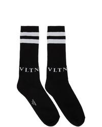 schwarze und weiße bedruckte Socken von Valentino