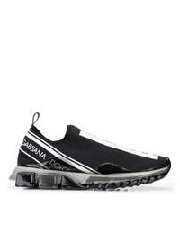 schwarze und weiße bedruckte Sportschuhe von Dolce & Gabbana