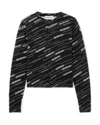 schwarze und weiße bedruckte Strickjacke von Balenciaga