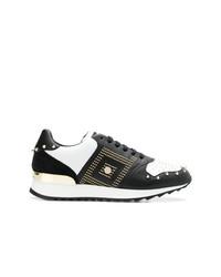 schwarze und weiße beschlagene Leder niedrige Sneakers von Versace Collection