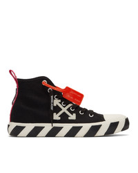 schwarze und weiße bestickte hohe Sneakers aus Segeltuch von Off-White