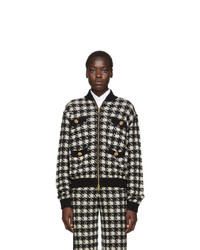 schwarze und weiße Bomberjacke von Gucci