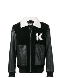 schwarze und weiße Bomberjacke von Karl Lagerfeld