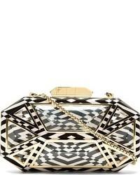 schwarze und weiße Clutch mit geometrischen Mustern von Giuseppe Zanotti