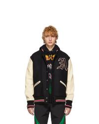 schwarze und weiße Collegejacke von Gucci