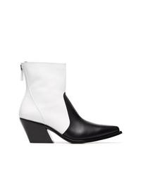 schwarze und weiße Cowboystiefel aus Leder von Givenchy