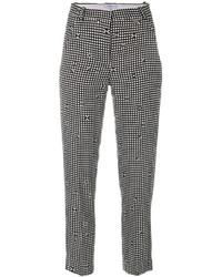 schwarze und weiße enge Hose mit Karomuster von Carven