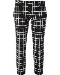 schwarze und weiße enge Hose mit Karomuster von Dsquared2