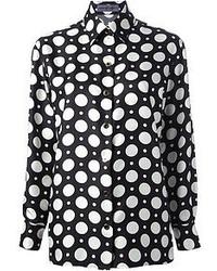 schwarze und weiße gepunktete Bluse mit Knöpfen